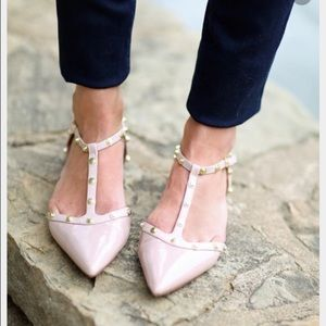 Halogen Olson Pointy Toe Studded Flats Blush Pink